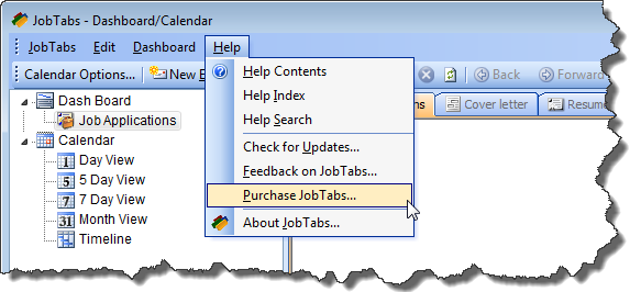 Purchase job search software from the Help menu.